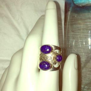 Handmade silver 926 lapis Vintage ring Aprox 7
